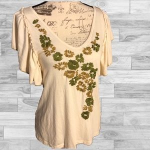 8d17baa874ac Anthropologie Tops | Name Your Price Anthro Tiny Cream Floral Top Sz ...
